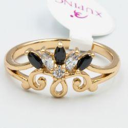 Кольцо Xuping№535 оптом с черными и белыми цирконами.