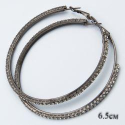 Серьги-кольца№1847 с мелкими белыми стразами оптом