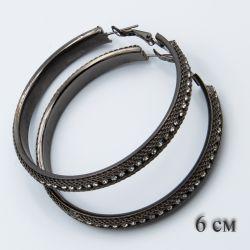 Серьги-кольца№1848 6 см оптом с мелкими белыми стразами.