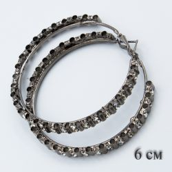 Серьги-кольца№1849 6 см оптом с белыми стразами стильные.