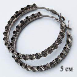Серьги-кольца№1850 5 см оптом с белыми стразами стильные.