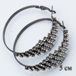Серьги-кольца№1852 5 см оптом с мелкими белыми стразами.