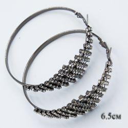 Серьги-кольца№1853 6.5 см оптом с мелкими белыми стразами.