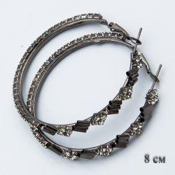Серьги-кольца№1854 8 см оптом с белыми стразами стильные.