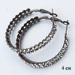 Серьги-кольца№1855 4 см оптом с мелкими камнями белого цвета.