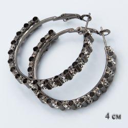 Серьги-кольца№1856 4 см оптом с мелкими белыми стразами.