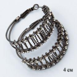 Серьги-кольца№1857 4 см оптом шикарные с мелкими белыми стразами.
