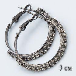 Серьги-кольца№1859 3 см оптом с белыми камнями.