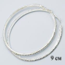 Серьги-кольца№1860 9 см оптом белого цвета со стразами.