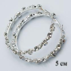 Серьги-кольца№1871 5 см оптом с белыми камнями.