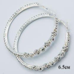 Серьги-кольца№1872 6.5 см оптом с белыми стразами стильные.