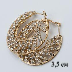 Серьги-кольца№1874 3.5 см оптом позолота с камнями.