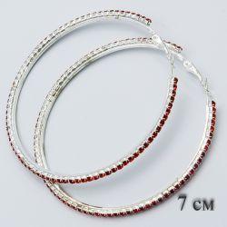Серьги-кольца№1875 7 см оптом с дорожкой из красных страз.