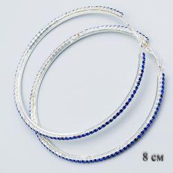 Серьги-кольца№1876 8 см оптом с дорожкой из синих страз.