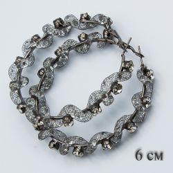 Серьги-кольца№1878 6 см оптом стильные со стразами.