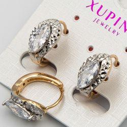 Серьги Xuping№23 оптом белый циркон в цвехцветном металле
