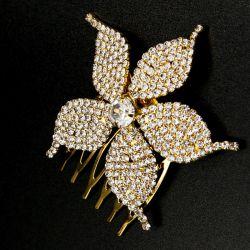 Украшение№164 для волос цветок на металле под золото в белых стразах на расчесочке