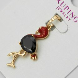 Кулон Xuping№1089 оптом птица с красной эмалью и черным цирконом.