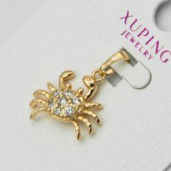 Кулон Xuping№1095 оптом краб с белыми цирконами.