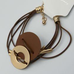 Браслет№1094 оптом коричневого цвета с разными вставками.
