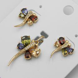Комплект Xuping№63 оптом стрекоза с цирконами разного цвета.