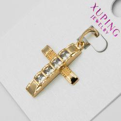 Крестик Xuping№1156 оптом с цирконами белого цвета.