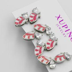 Гвоздики Xuping№241 оптом 4 пары бабочки с эмалью.