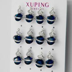 Гвоздики Xuping№247 оптом 6 пар с цирконом синего цвета.