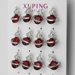 Гвоздики Xuping№248 оптом 6 пар с цирконом красного цвета.