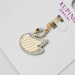 Кулон Xuping№1196 оптом в виде лебедя с цирконами.