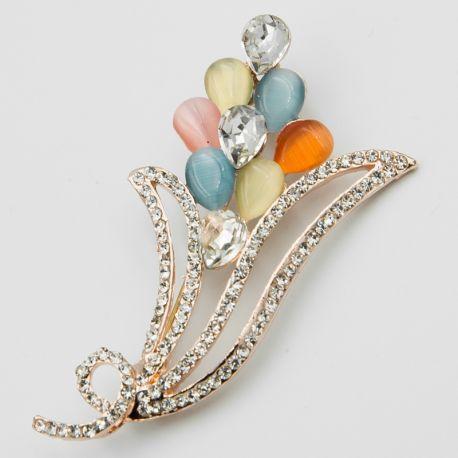 Брошь№185 оптом в виде цветочка с камнями разного цвета.