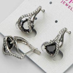 Серьги Xuping№477 оптом черный циркон на белом металле