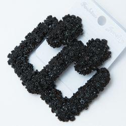 Серьги№2563 оптом геометрической формы на черном металле с орнаментом