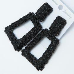 Серьги№2564 оптом геометрической формы на черном металле с орнаментом