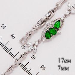 Браслет Xuping№581 оптом 17+2см на белом металле с зелеными цирконами и мелкими белыми