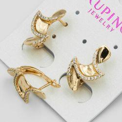 Серьги Xuping№564 оптом на металле под золото мелкие цирконы