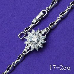 Браслет Xuping№140 17+2см цветок с белыми цирконами на металле под серебро медзолото оптом