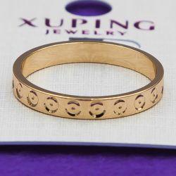 Кольцо Xuping№37 оптом с насечками алмазной гранью медзолото оптом