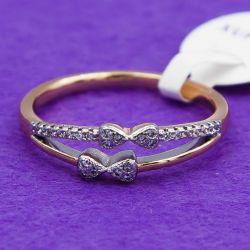 Кольцо Xuping№43 16.17.18.19.20 с белыми цирконами на двухцветном металле купить ювелирную бижутерию оптом