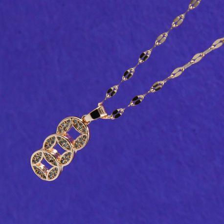 Цепочка сталь№661 оптом с кулоном в форме колец в белых стразах