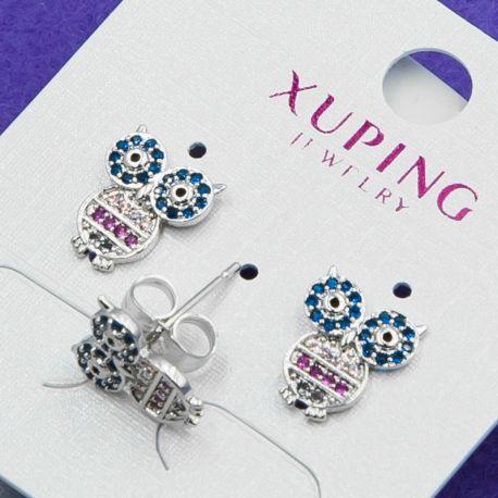 Гвоздики Xuping№785 оптом сова в цветных цирконах купить ювелирную бижутерию оптом