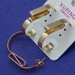 Серьги Xuping№804 абстракция на металле под золото купить медзолото оптом
