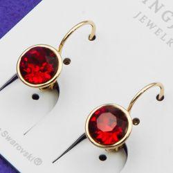 Серьги Xuping№871 SWAROVSKI с красным камнем купить медичне золото оптом бижутерия Харьков