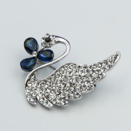 Брошь№16 лебедь с синими вставками броши оптом купить недорого