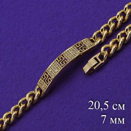 Браслет Xuping№180 20.5см звеньевой с пластиной и орнаментом ювелирная бижутерия xuping купитьнедорого