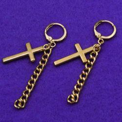 Серьги№2680 с крестиками и цепью в интернет магазине оптом.