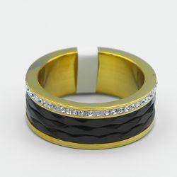 Кольцо Xuping сталь№80 с эмалью черного цвета от производителя оптом.