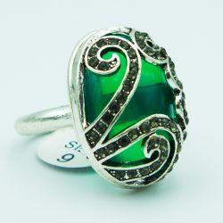 Кольцо№162 с большим зеленым камнем бижутерия оптом.