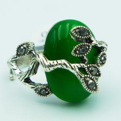 Кольцо№164 с большим зеленым камнем бижутерия оптом.