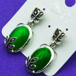 Серьги№2692 с зеленым камнем и бабочками бижутерия оптом.